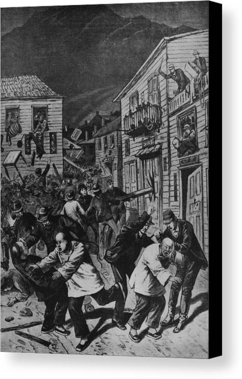 History Canvas Print featuring the photograph October 31, 1880 Anti-chinese Riot by Everett