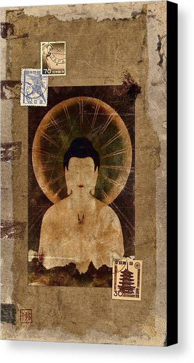 Buddha Canvas Print featuring the photograph Amida Buddha Postcard Collage by Carol Leigh