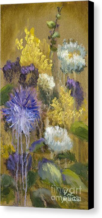Flower Canvas Print featuring the painting Drippy Bouquet With Gold Leaf By Vic Mastis by Vic Mastis