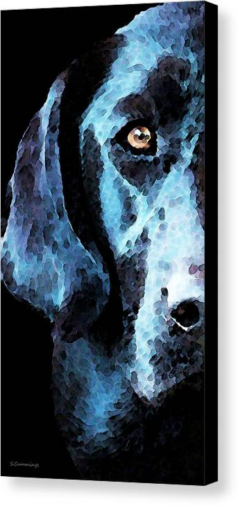 Labrador Retriever Canvas Print featuring the painting Black Labrador Retriever Dog Art - Hunter by Sharon Cummings