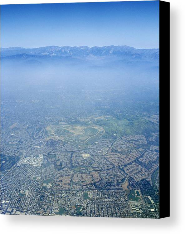 Los Angeles Canvas Print featuring the photograph Air Pollution Over Los Angeles by Detlev Van Ravenswaay
