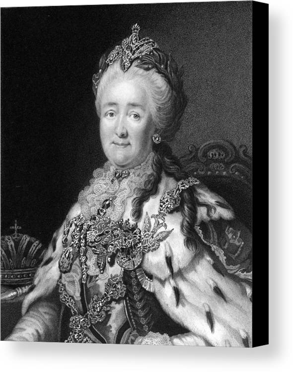 1700s Canvas Print featuring the photograph Catherine The Great, Empress Of Russia by Middle Temple Library