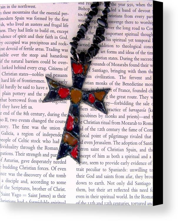 Bible Canvas Print featuring the jewelry Christian Cross by Cynthia Amaral