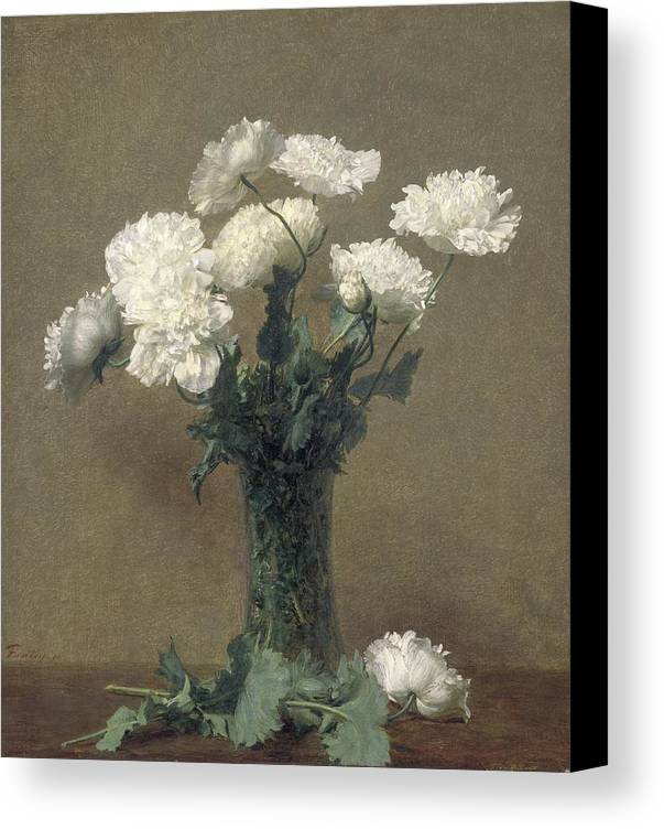 Flowers Canvas Print featuring the painting Poppies by Ignace Henri Jean Fantin-Latour