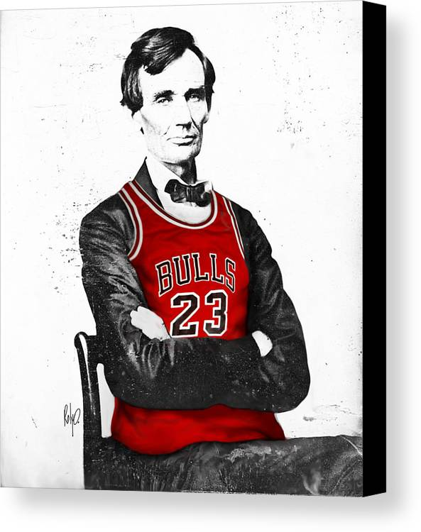 Michael Jordan Canvas Print featuring the drawing Abe Lincoln In A Bulls Jersey by Roly Orihuela