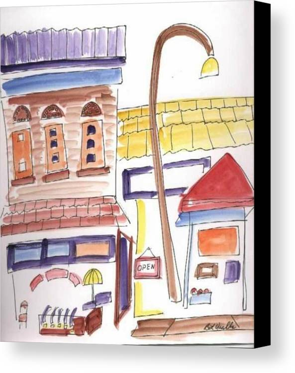 Watercolor Canvas Print featuring the painting Festival In The City 4 by B L Qualls