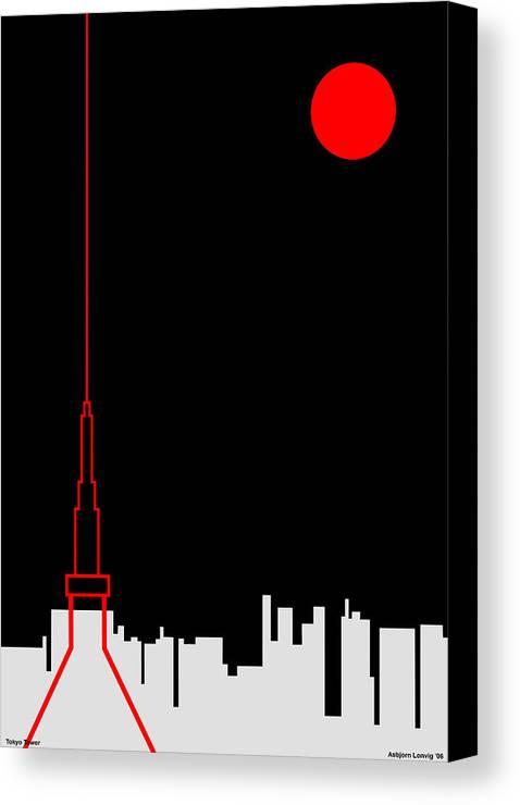 Canvas Print featuring the digital art Tokyo Tower by Asbjorn Lonvig