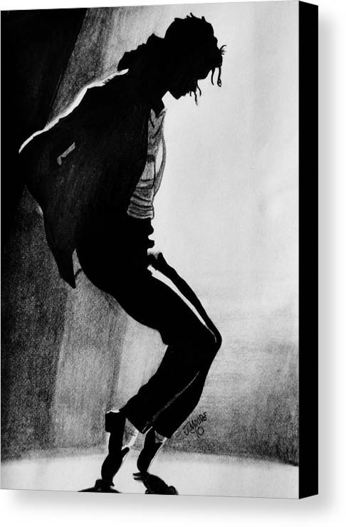 Michael Jackson Dance Tippy Toes Sillouhette Pop Star Music Canvas Print featuring the drawing Dance by Jeremy Moore