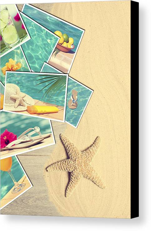 Sand Canvas Print featuring the photograph Holiday Postcards by Amanda And Christopher Elwell