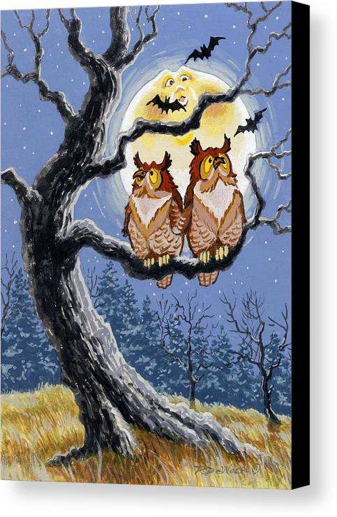 Halloween Canvas Print featuring the painting Hooty Whos There by Richard De Wolfe