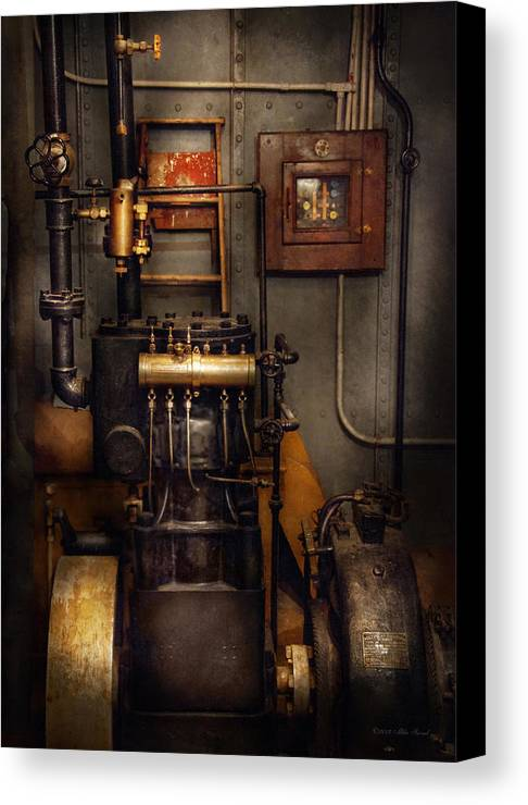 Hdr Canvas Print featuring the photograph Steampunk - Back In The Engine Room by Mike Savad