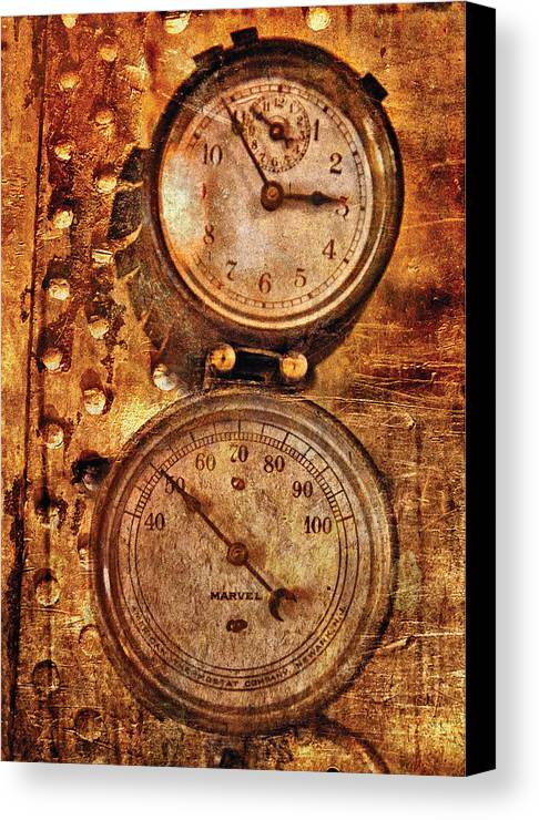 Savad Canvas Print featuring the photograph Steampunk - Gauges by Mike Savad