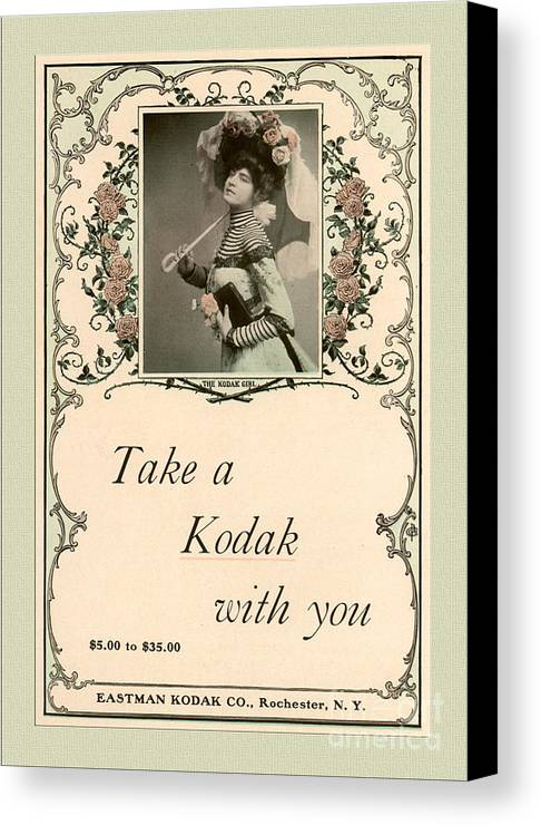 Vintage Canvas Print featuring the mixed media Take A Kodak With You by Anne Kitzman