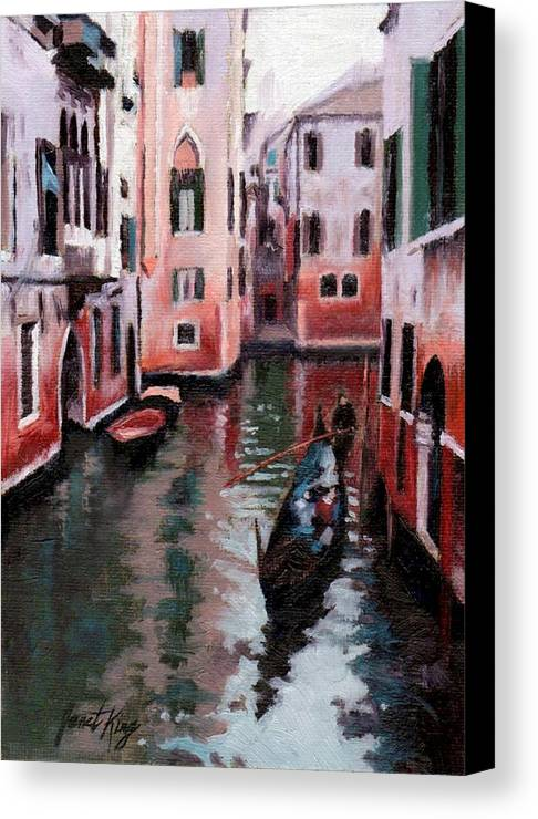 Cities Canvas Print featuring the painting Venice Gondola Ride by Janet King