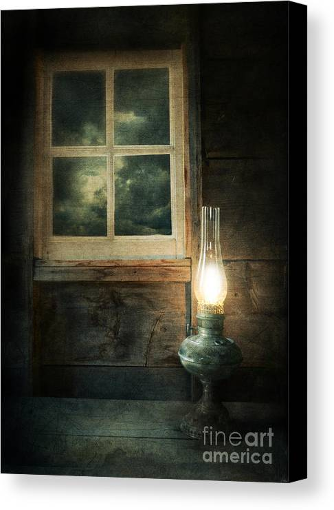 House Canvas Print featuring the photograph Oil Lamp On Table By Window by Jill Battaglia