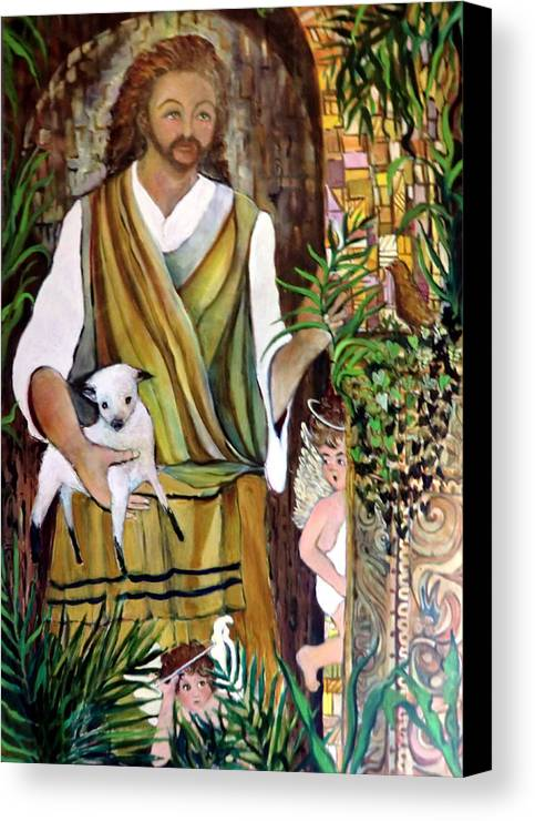Jesus Canvas Print featuring the painting The Good Shephard At The Door by Mindy Newman