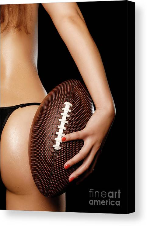 Football Canvas Print featuring the photograph Woman With A Football by Oleksiy Maksymenko
