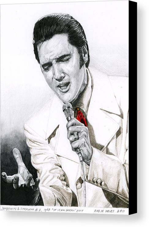 Elvis Canvas Print featuring the drawing 1968 White If I Can Dream Suit by Rob De Vries