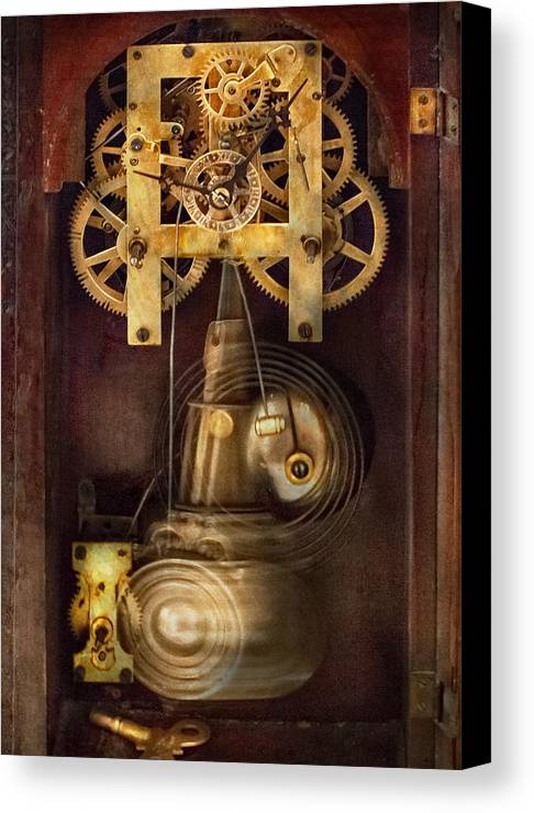 Suburbanscenes Canvas Print featuring the photograph Clockmaker - The Mechanism by Mike Savad