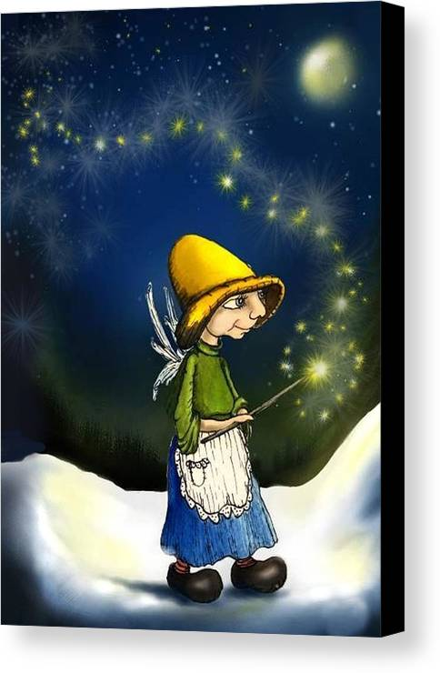 Fairy With Magic Wand Canvas Print featuring the drawing Magical Hope by Hank Nunes