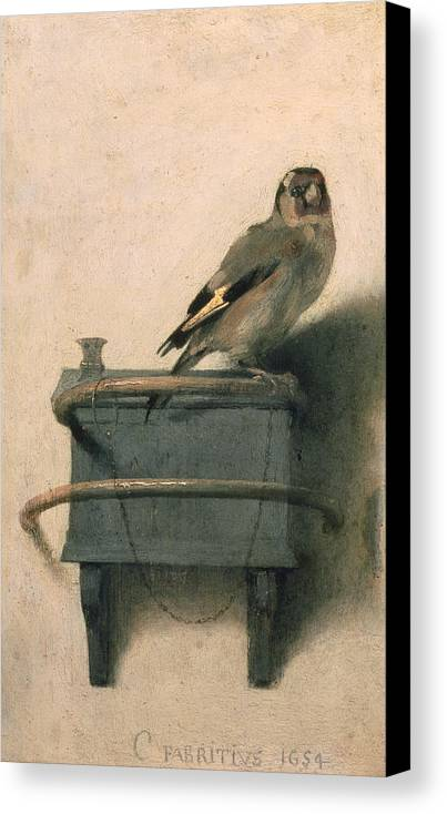 Bird Canvas Print featuring the painting The Goldfinch by Carel Fabritius