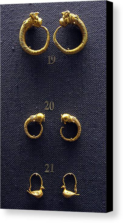 Ancient Earrings Canvas Print featuring the photograph Earrings by Andonis Katanos