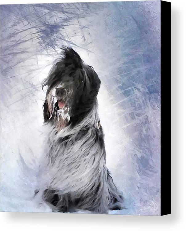 Animal Canvas Print featuring the digital art Little Doggie In A Snowstorm by Gun Legler
