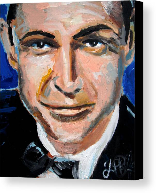 James Canvas Print featuring the painting James Bond by Jon Baldwin Art