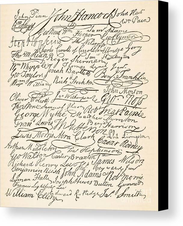 Signatures Attached To The American Declaration Of Independence Of 1776 Canvas Print featuring the painting Signatures Attached To The American Declaration Of Independence Of 1776 by Founding Fathers