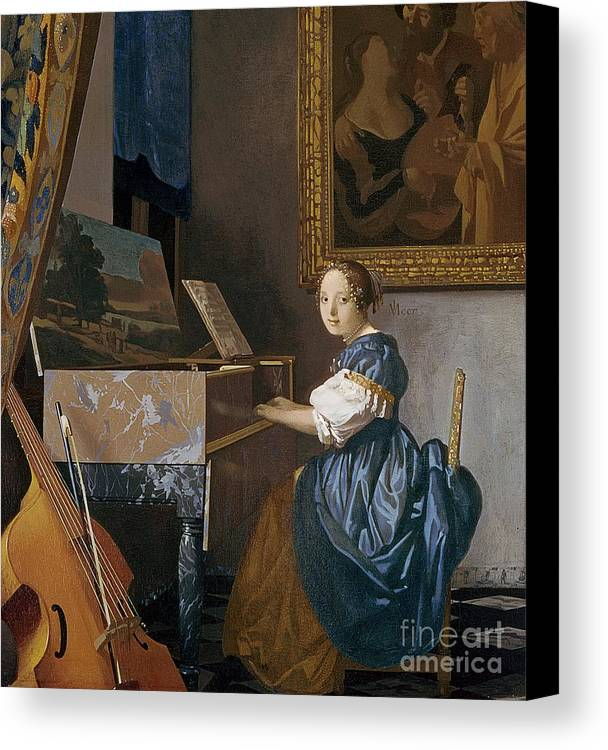Young Canvas Print featuring the painting A Young Lady Seated At A Virginal by Jan Vermeer