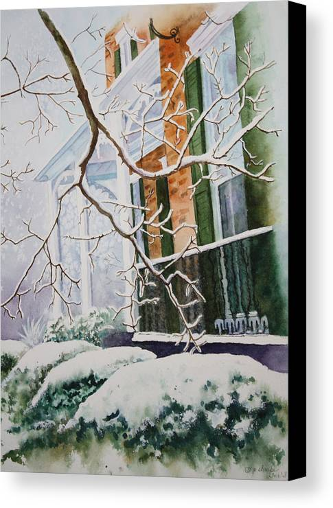 Snow Scene Landscape Canvas Print featuring the painting A Blanket Of Snow by Patsy Sharpe