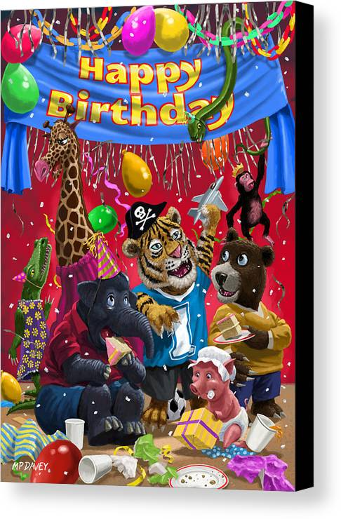 Birthday Canvas Print featuring the painting Animal Birthday Party by Martin Davey