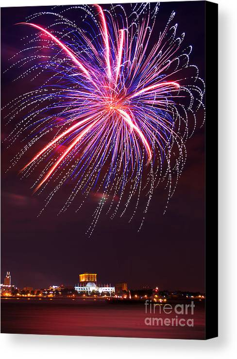 Fireworks Canvas Print featuring the photograph Fire Flower by Rima Biswas