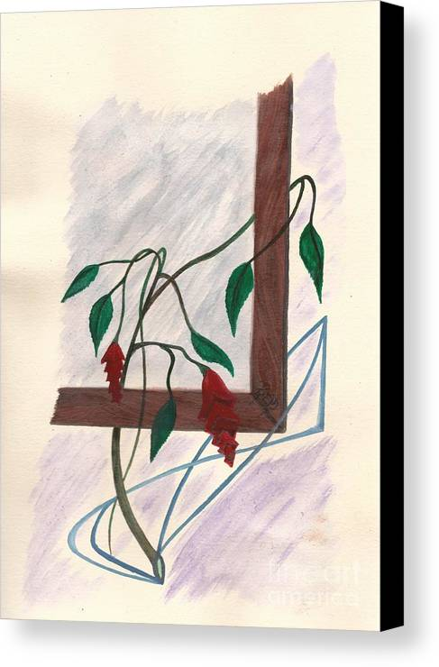 Watercolor Canvas Print featuring the painting Flowers In The Window by Robert Meszaros