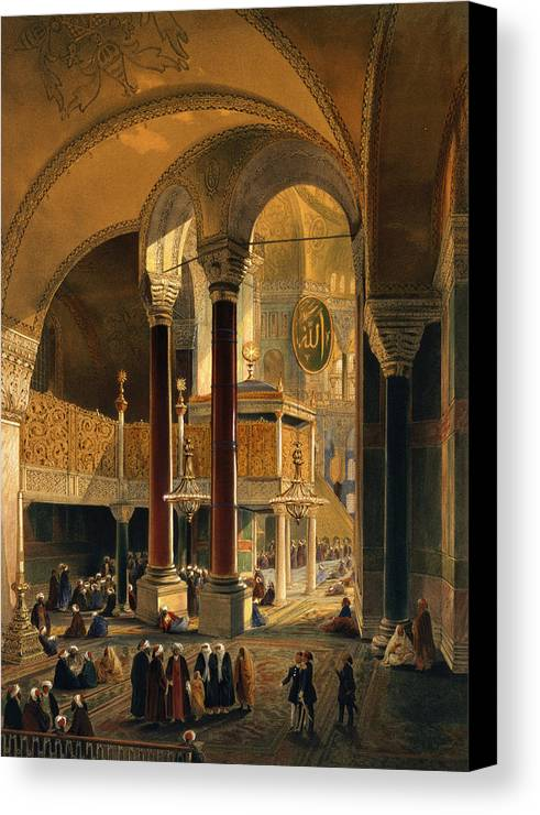 Interior Canvas Print featuring the drawing Haghia Sophia, Plate 8 The Imperial by Gaspard Fossati
