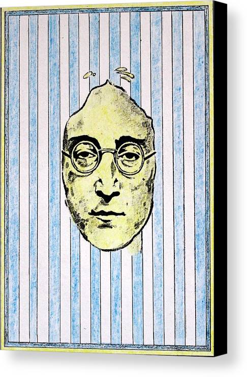 John Lennon Canvas Print featuring the mixed media Homage To John Lennon by John Nolan
