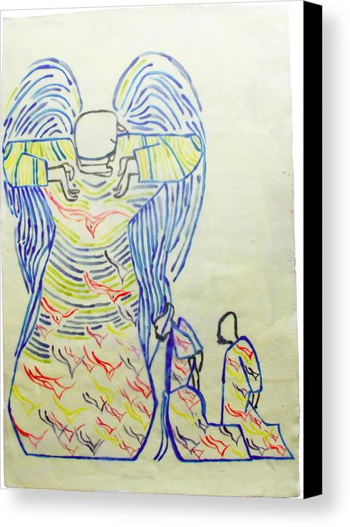 Jesus Canvas Print featuring the painting Jesus Guardian Angel by Gloria Ssali