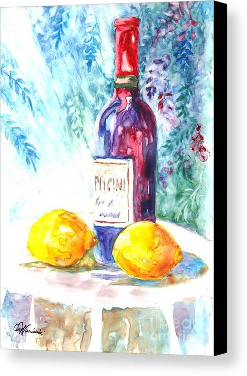 Wine Canvas Print featuring the painting Lemons And Wine And A Little Sunshine by Carol Wisniewski