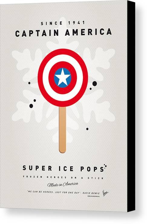 Superheroes Canvas Print featuring the digital art My Superhero Ice Pop - Captain America by Chungkong Art