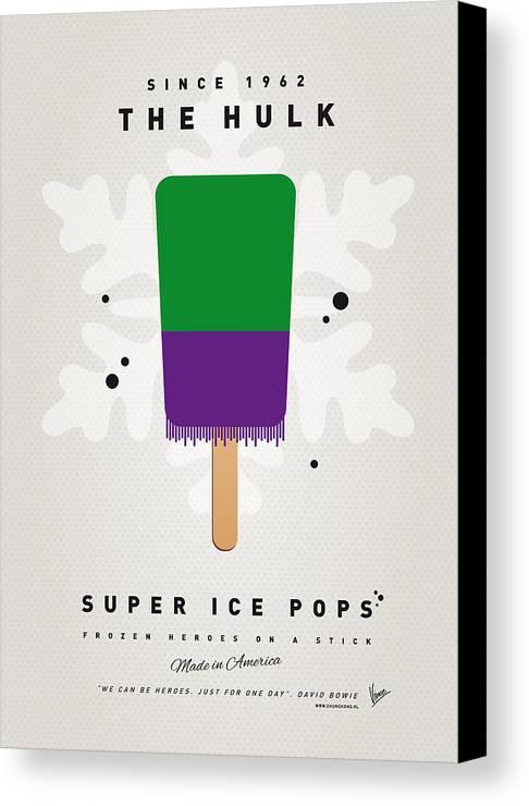 Superheroes Canvas Print featuring the digital art My Superhero Ice Pop - The Hulk by Chungkong Art