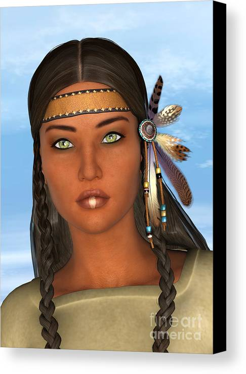 Native Canvas Print featuring the digital art Native American Woman by Design Windmill