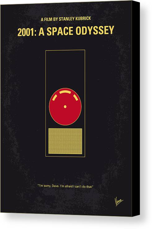 2001: A Space Odyssey Canvas Print featuring the digital art No003 My 2001 A Space Odyssey 2000 Minimal Movie Poster by Chungkong Art