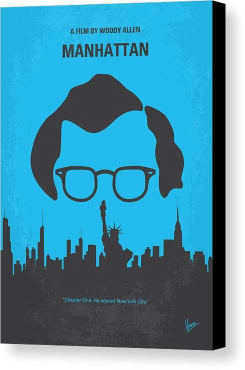 Manhattan Canvas Print featuring the digital art No146 My Manhattan Minimal Movie Poster by Chungkong Art