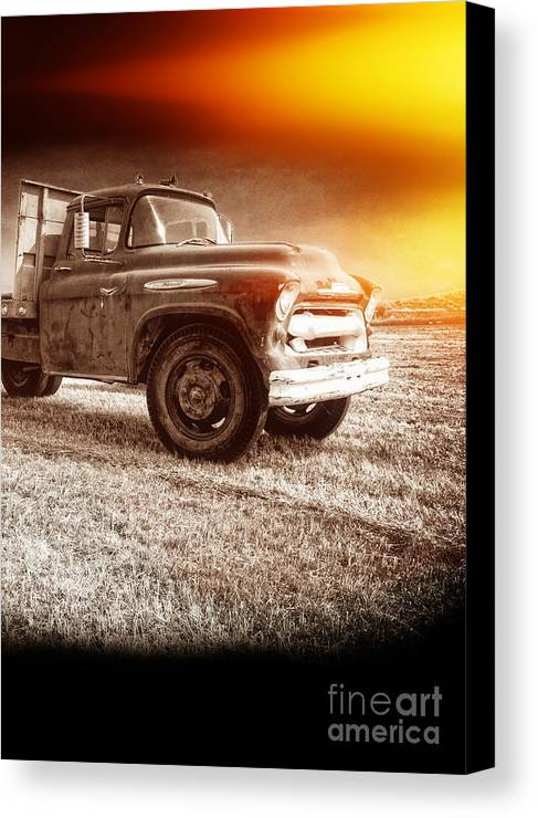 Explosion Canvas Print featuring the photograph Old Farm Truck With Explosion At Night by Edward Fielding