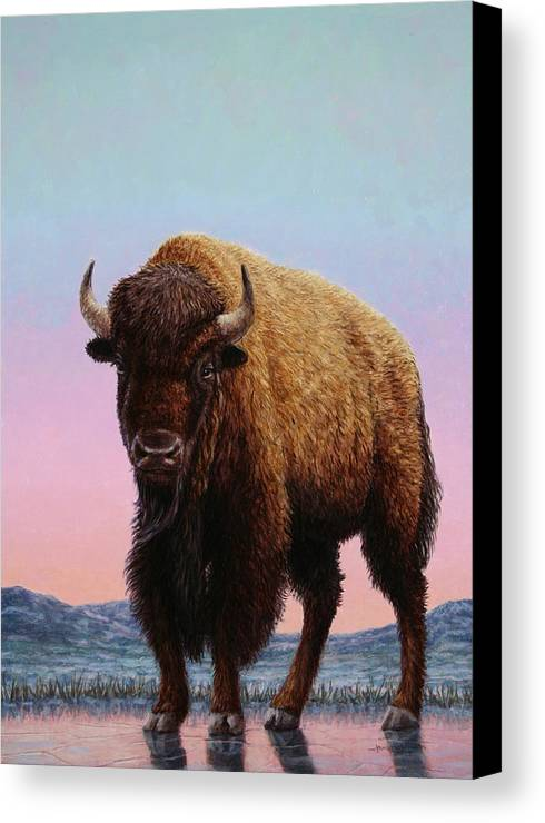 Buffalo Canvas Print featuring the painting On Thin Ice by James W Johnson
