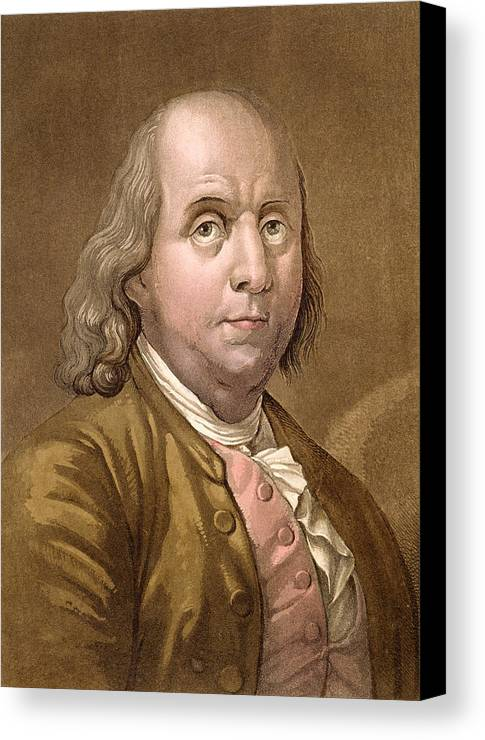 American Politician Canvas Print featuring the drawing Portrait Of Benjamin Franklin , From Le by Gallo Gallina