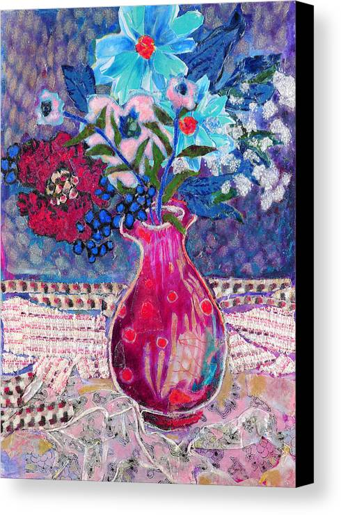 Flowers In A Vase Canvas Print featuring the mixed media Red Vase IIi by Diane Fine