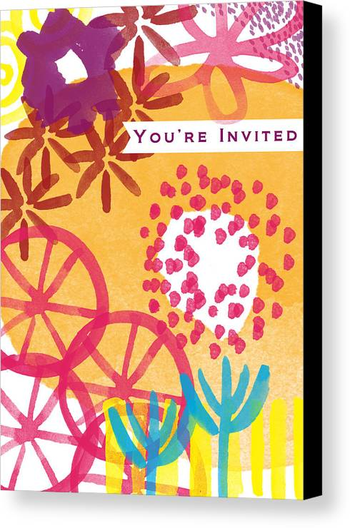 Party Invitation Canvas Print featuring the painting Spring Floral Invitation- Greeting Card by Linda Woods