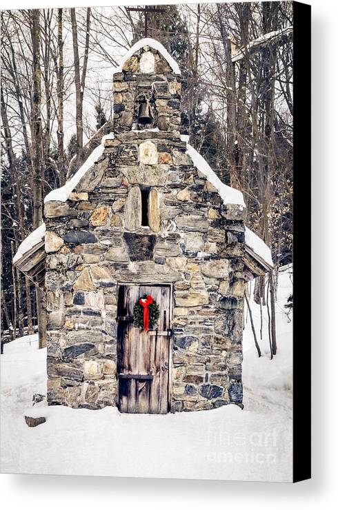 Chapel Canvas Print featuring the photograph Stone Chapel In The Woods Trapp Family Lodge Stowe Vermont by Edward Fielding