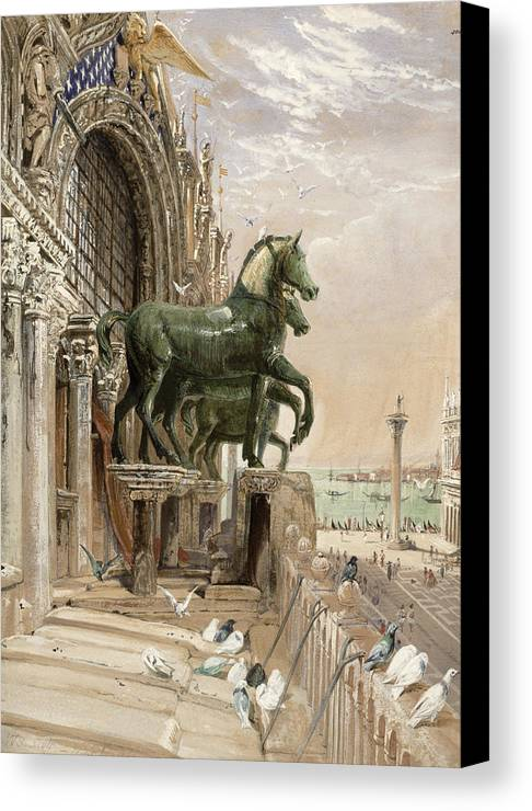San Marco Canvas Print featuring the drawing Upper Portion Of The Facade Of St by William Bell Scott